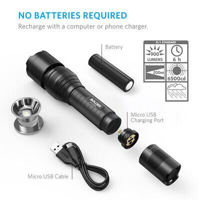 Anker Rechargeable Bolder LC90 LED Flashlight Pocket Torch 900 Lumens CREE IP65