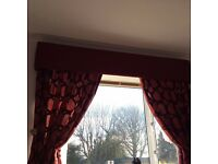 Beautiful dark red Next curtains,matching pelmet,Swarovski tie backs and Cotterells ceiling light