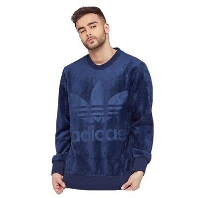 Medium Mens ADIDAS ORIGINALS VELOUR BB Collegiate Crew Sweatshirt In Blue Cw1328