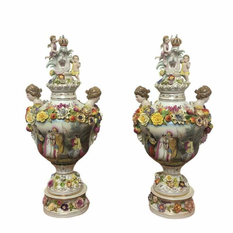20th Century Large Pair of Dresden Floral Porcelain Urns Vases Ornate Flowers