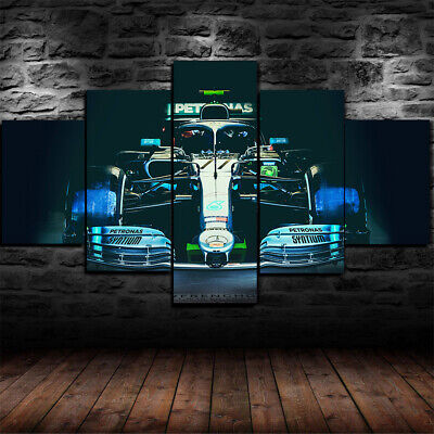 Framed Mercedes W10 F1 Formula One Car 5 Piece Canvas Print Wall Art Decor 1' Framed Art Print