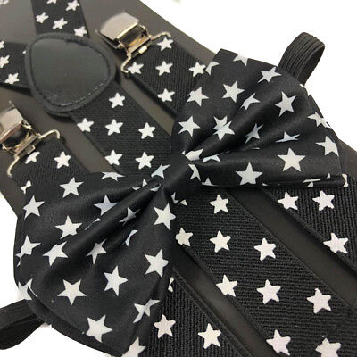 Black with Stars Bow Tie & Suspender Wedding Set Tuxedo Party Accessories  (Tie With Suspenders)