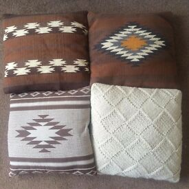 4 Large Cushions with Aztec Design