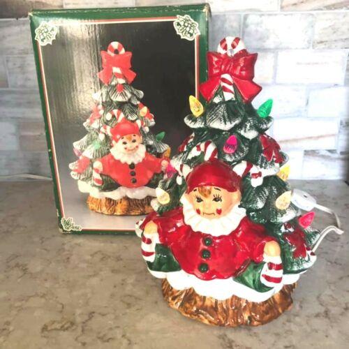 Vintage Christmas Fine Ceramic Jester on Tree Nite Lite with Original Box