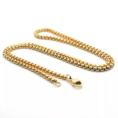 Wholesale 18K Gold Plated 3mm Square Rolo Box Cylinder Chain Necklace 18