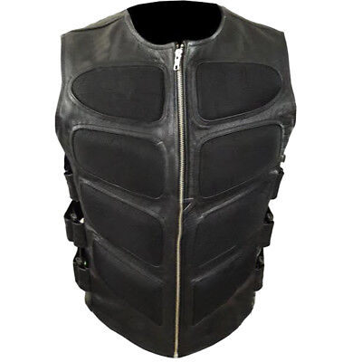 Men's Stylish Black Leather Vest Biker Costume Zip Front Sleeveless Jacket - Black Leather Costumes
