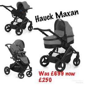 Brand new in box Hauck maxan parent facing 4 in 1 travel system pram pushchair grey ISOFIX CAR SEAT