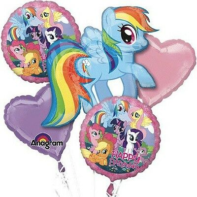 My Little Pony Birthday Party Favor Supplies 5CT Foil Balloons Bouquet