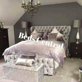 Crush Velvet Wing Bed Frame
