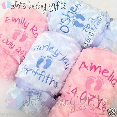 Personalised Luxury Baby Blanket, Fluffy & Soft Embroidered Gift, Boys & Girls