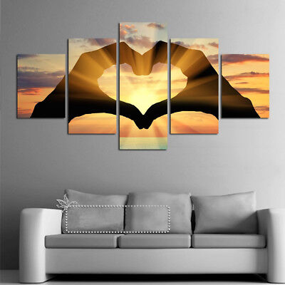 Abstract Heart Sun 5 piece Canvas Wall Art Picture Printed Home Decor ()