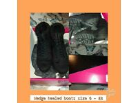 Wedge heeled boots size 6