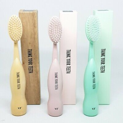 VT Cosmetics Think Your Teeth Eco Jumbo Brush Toothbrush Mint Pink Wood K-Beauty