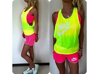 Ladies Sport Fitness Shorts Top Bra Vest Workout set, size UK 6, 10, 12.