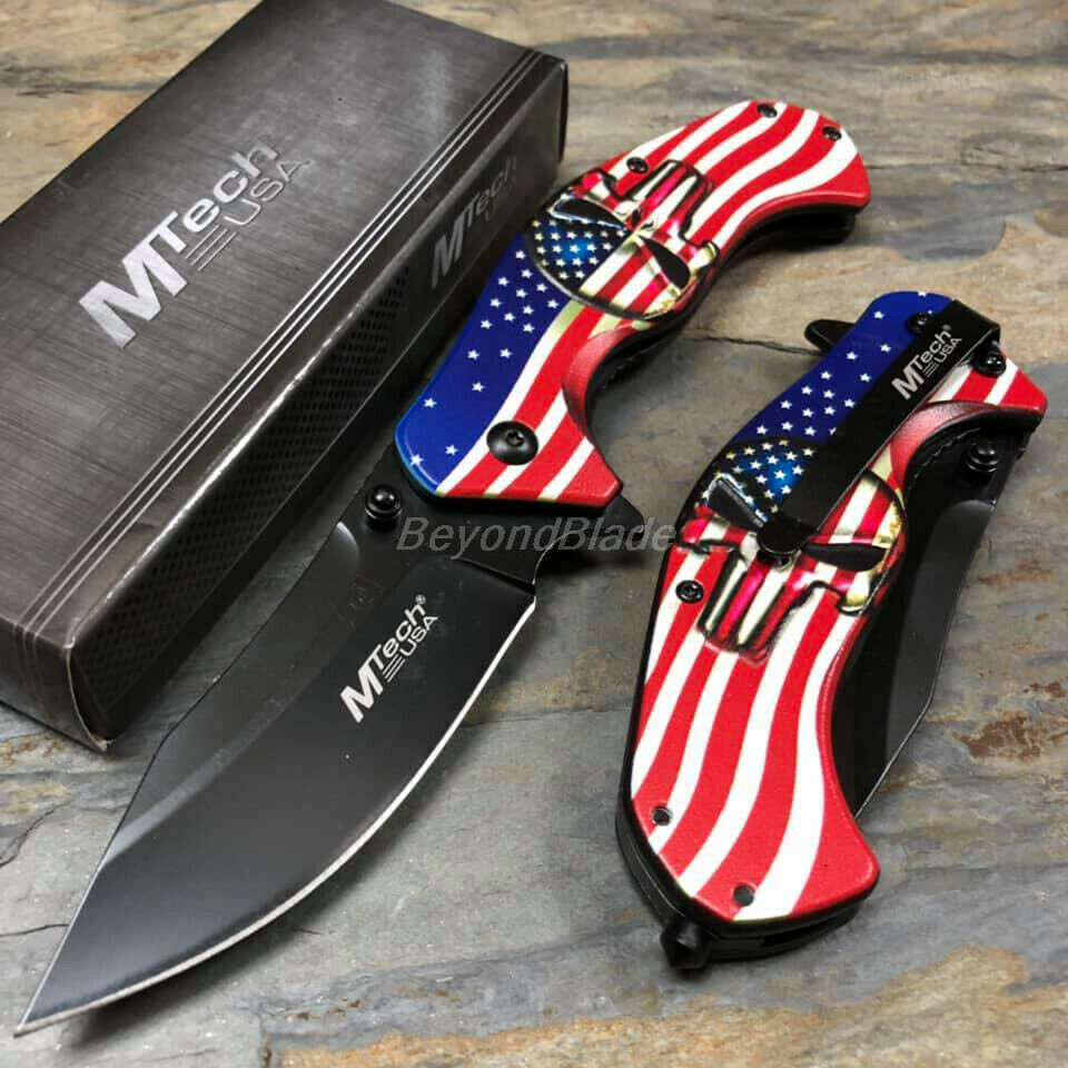 Mtech USA Flag Skull Spring Assisted Survival Camping Rescue
