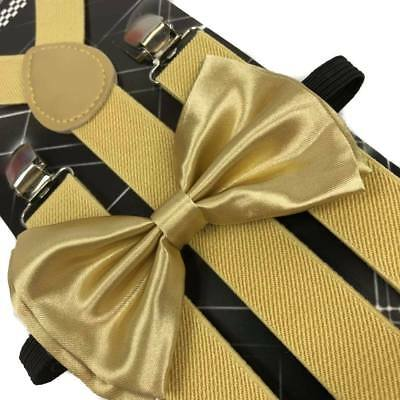 GOLD Suspender and Bow Tie Set for Adults Men Women (USA Seller) - Gold Suspenders And Bowtie
