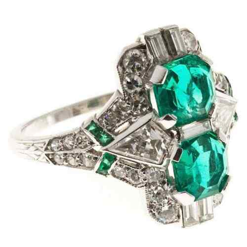 Circa 1930s Edwardian Style Bright Green Emeralds and White CZ 2.13TCW Fine Ring