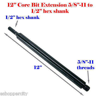 12 Extension Core Drill Bit Adapter 58-11 Thread Male To 12 Hex Shank