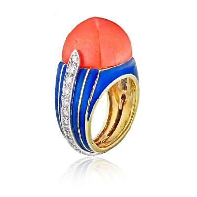 Tiffany & Co. Blue Enamel Coral Gold and Diamond Pyramid Vintage Ring Size: (Gold And Tiffany Blue)