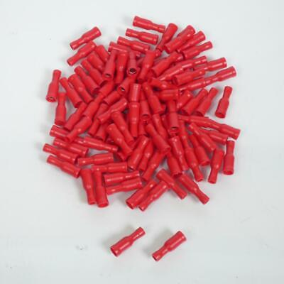 100 Terminal Enchufe Eléctrico Redonda Hembra Ø4mm o-Ring Rojo 0.25-1.5mm ² Moto