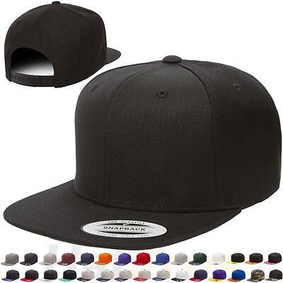 Flexfit Classic Snapback Snap Back Baseball Cap Plain Blank Yupoong Hat 6089 M T