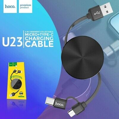 Retractable Charging Micro USB Type C Cable 2in1 Lead For Samsung Huawei...