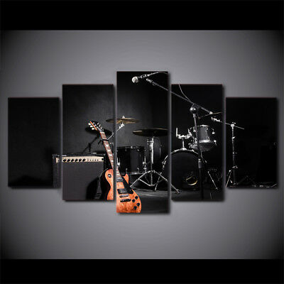 Music Guitar Drum Instruments 5 Pieces canvas Wall Art Print Picture Home Decor - Guitar Decorations
