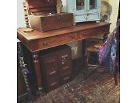 Antique Victorian mahogany desk table