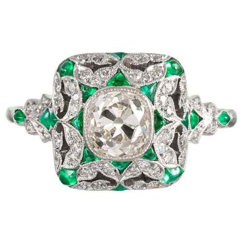 Art Deco Style Old Mine Cut Green Emerald & White Cubic Zirconia 925 Silver Ring