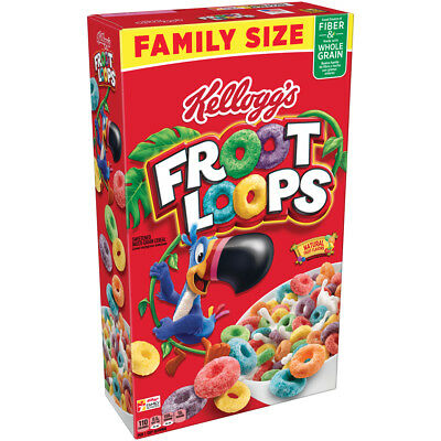 NEW KELLOGGS FROOT LOOPS CEREAL 19.4 OZ FAMILY SIZE NATURAL FRUIT FLAVORS BUY IT