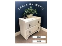 Old White shabby chic chest of drawers DELIVERY AVAILABLE