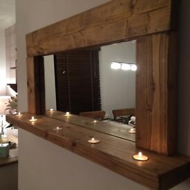 Handmade Rustic mirror with tea light candles