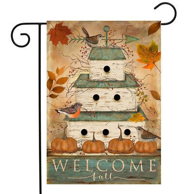 "Welcome Fall Birdhouse Primitive Garden Flag Pumpkins 12.5"" x 18"" Briarwood Lane"
