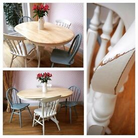 BEAUTIFUL VINTAGE SHABBY CHIC DINING TABLE AND CHAIRS