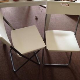 Folding White Chair x2 -collection/delivery