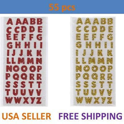 55pcs Letter A-Z Alphabet Glitter Self Adhesive Crystals Stickers Stick On DIY ()