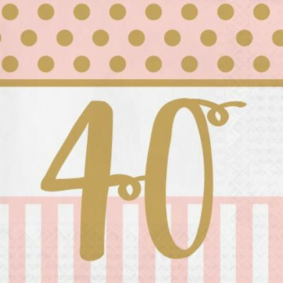 20 x Gold & Pink Chic 40th Napkins Ladies 40 Birthday Party Tableware Supplies
