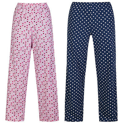 Marks & Spencer Womens Polka Dot Cotton Pyjama Bottoms M&S Spotty PJ Lounge Pant ()