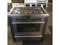 stainless steel stoves 90cm duel fuel range cooker