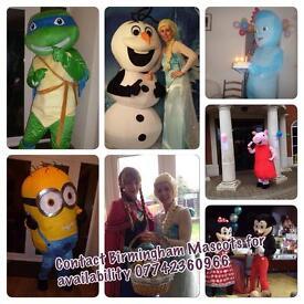 Mascot hire, Peppa pig, Iggle Piggle, Turtle, Minion, Olaf, Poppy, Chase, Spiderman.