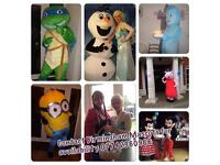Mascot hire, Peppa pig, Iggle Piggle, Turtle, Minion, Olaf, Poppy, Chase, Spiderman.