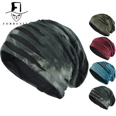 Mens Retro Thin Slouchy Beanie Summer Cool Skull Cap Baggy Casual Lined Knit Hat ()