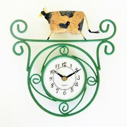 Cow Wall Clock Country Kitchen Primitive Battery Ranger Gift New Boxed