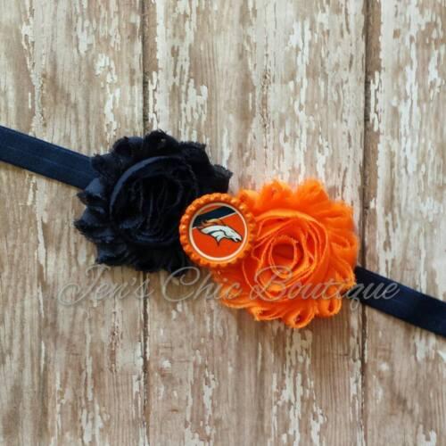 Denver Broncos elastic infant, toddler, or adult sized headband bow