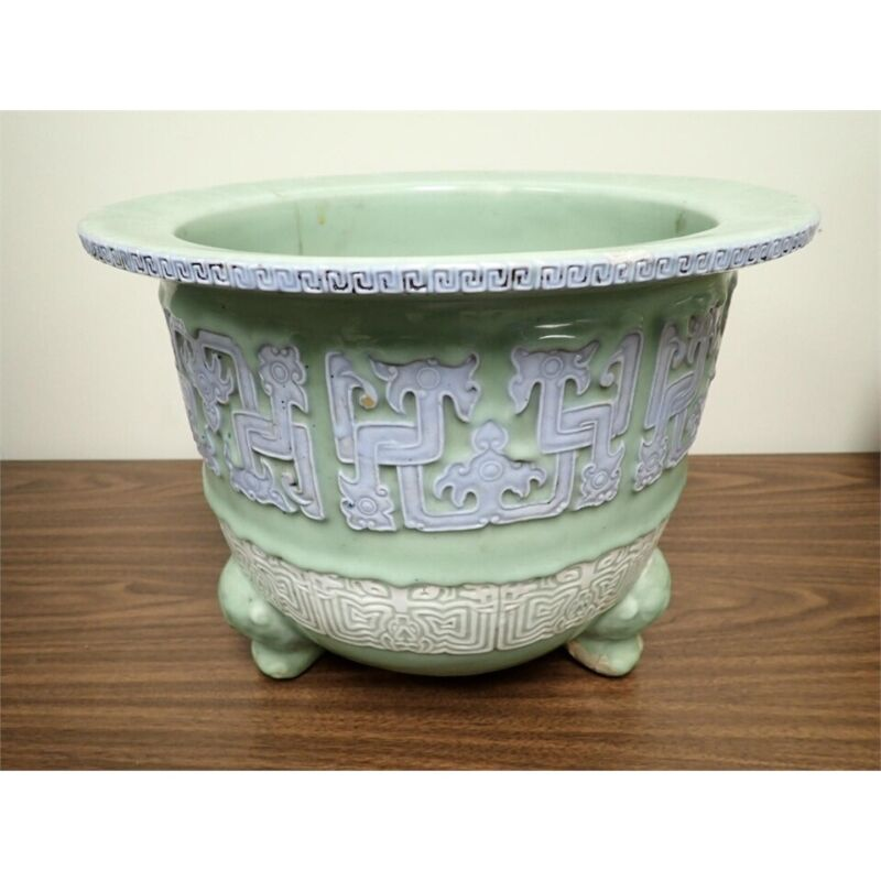 Antique Early Asian 18th Century Celadon Pigeon Egg Footed Jardiniere Planter *