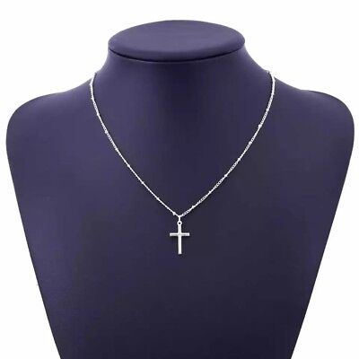 Women's Silver Plated Simple Small Tiny Cross Pendant Necklace Beaded Chain 18