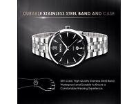New mans men's Quartz silver look watch