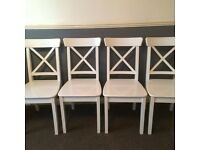 ikea ingolf white dining chairs x 4.