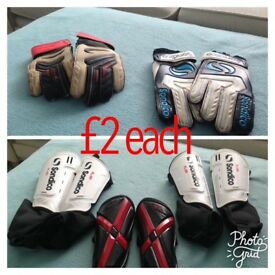 Footy gloves and shin pads