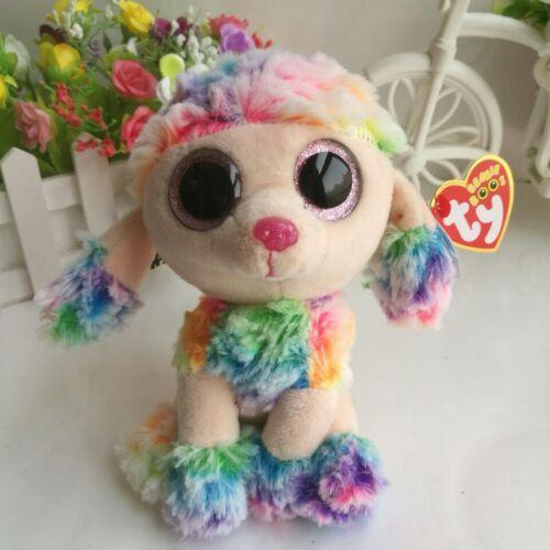 "6"" Poodle Dog Rainbow Ty Beanie Boos NEW 2017 Plush Stuffed"
